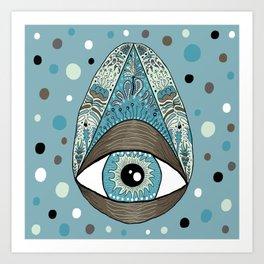 pysanky eye egg, blue green brown white black Art Print