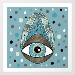 pysanky eye egg, blue green brown white black Art Print