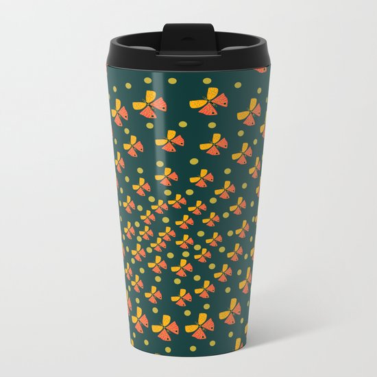 Butterflies in spiral Metal Travel Mug