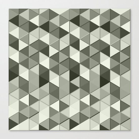 Cool Grayscale triangles geometric pattern Canvas Print