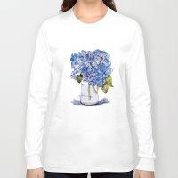 hydrangea Long Sleeve T-shirts featuring Hydrangea painting by KarenHarveyCox
