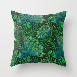 Peacocks in Emerald Forest Throw Pillow