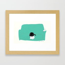 couch cat Framed Art Print
