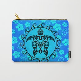 Black Tribal Turtle And Hibiscus Carry-All Pouch