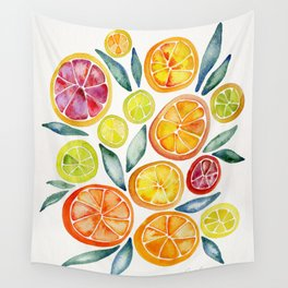 Sliced Citrus Watercolor Wall Tapestry