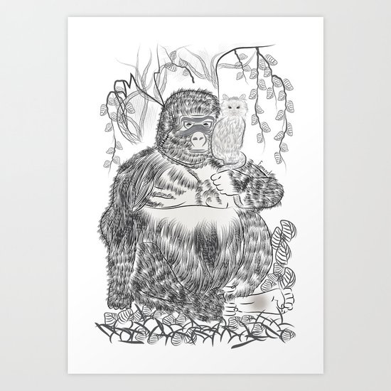 Jungle Gorilla and his Cat Art Print