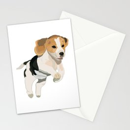 Beagle Art, beagle puppy, digital painting Stationery Cards