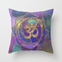 Om Symbol Golden and Paint texture Throw Pillow