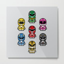 Power Chibi Rangers (Mighty Morphin) Metal Print