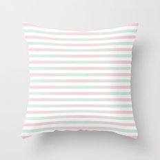 Stripes In Blue & Pink 2 Throw Pillow