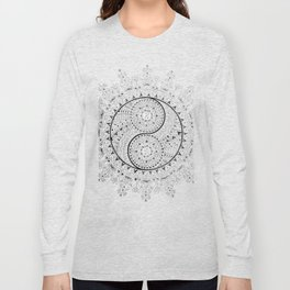Black and White YinYang Mandala Long Sleeve T-shirt