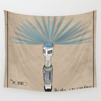 sonic Wall Tapestries featuring Sonic Screwdriver by Jarom Ward