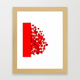 Hearts falling out of an envelope Framed Art Print