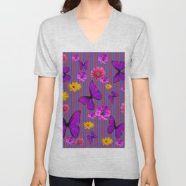 PURPLE BUTTERFLIES ASSORTED FLOWERS Unisex V-Neck