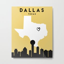 DALLAS TEXAS LOVE CITY SILHOUETTE SKYLINE ART Metal Print