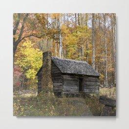 Smoky Mountain Rural Rustic Cabin Autumn View Metal Print