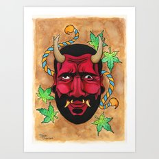 Hannya Red Mask - portrait of Arthur Art Print
