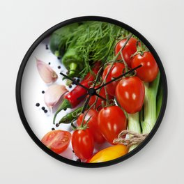 fresh vegetables on the white background - healthy or vegetarian eating concept Wall Clock