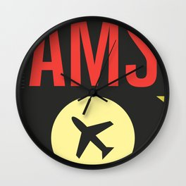 AMS Amsterdam Schiphol Airport sticker ff Wall Clock