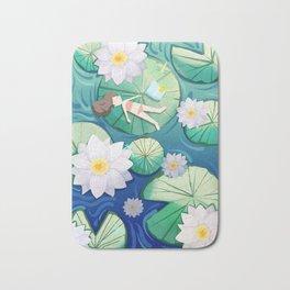 Girl Lay On Lotus Bath Mat