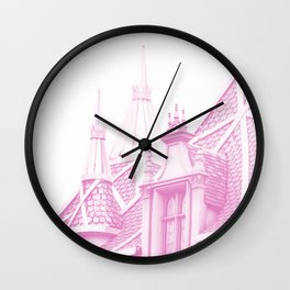 AURORA'S CASTLE - MAKE IT PINK Wall Clock