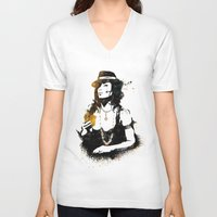 poker V-neck T-shirts featuring Poker by Oody