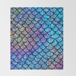 Colorful Mermaid Scales Throw Blanket