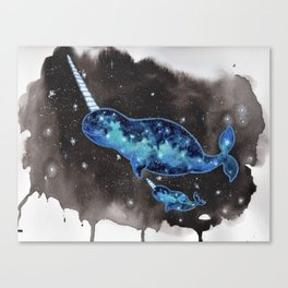 """""""Galaxy Narwhals"""" drifting in space watercolor illustration Canvas Print"""