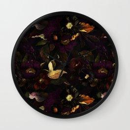 The Darkest Dutch Vintage Flowers Garden  Wall Clock