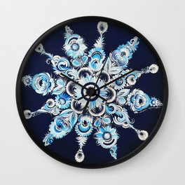Snowflake in Petrykivka style Wall Clock