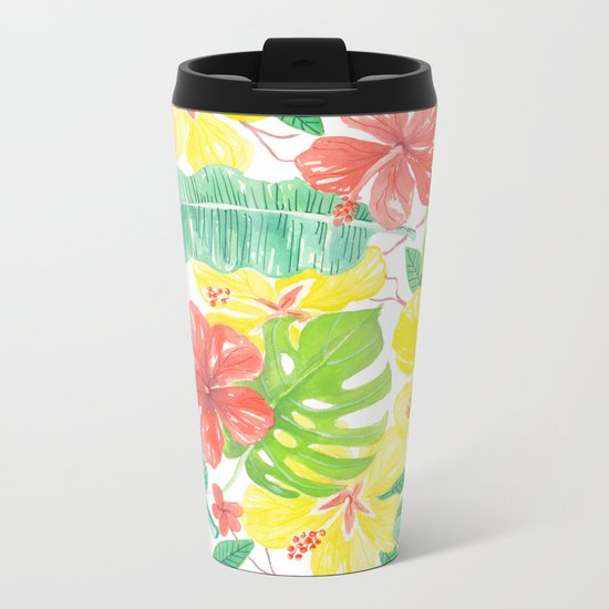 Tropical garden, hibisus, plumeria and palm leaves Metal Travel Mug