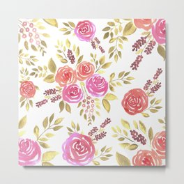 Watercolor pink and red roses with berries Metal Print