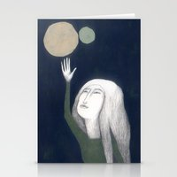 murakami Stationery Cards featuring two moons by martina troise