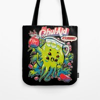 money Tote Bags featuring CTHUL-AID by BeastWreck