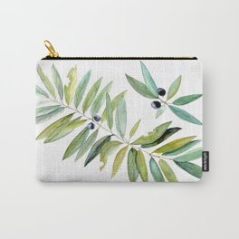 Leaves Berries Sage Green Turquiose Nature Art Floral Watercolor Carry-All Pouch