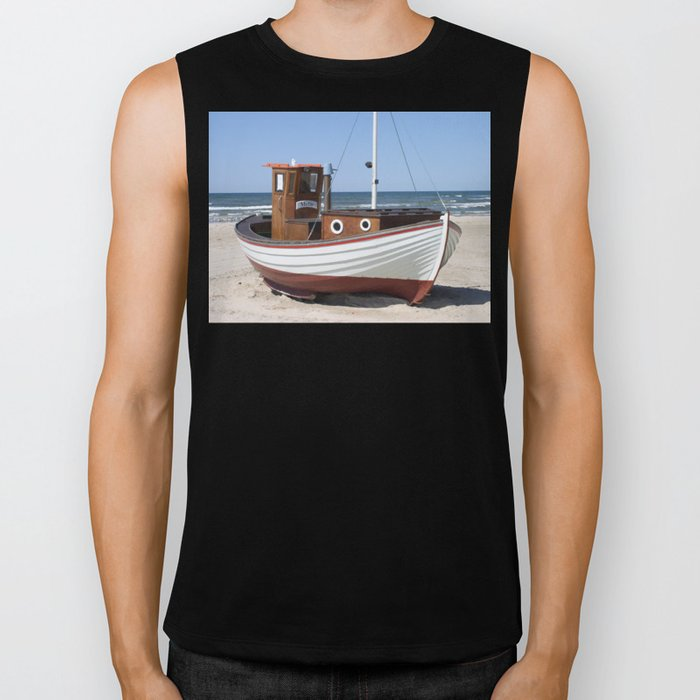 Fishing Boat on the Beach Biker Tank