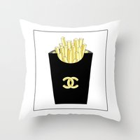 fries Throw Pillows featuring French fries by flowerstyle