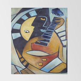 Blues Guitarist Throw Blanket