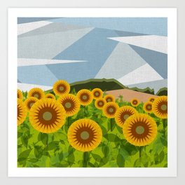 SUNFLOWERS (geometric flowers abstract) Art Print