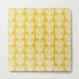 Tiki Pattern Mustard Yellow Metal Print