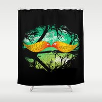 mustache Shower Curtains featuring mustache by sustici