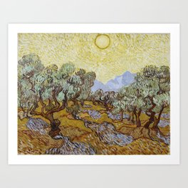 Vincent van Gogh - Olive Trees with Yellow Sky and Sun Art Print