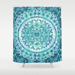 Aqua Mosaic Mandala Shower Curtain