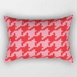 Houndstooth - Pink & Red Rectangular Pillow