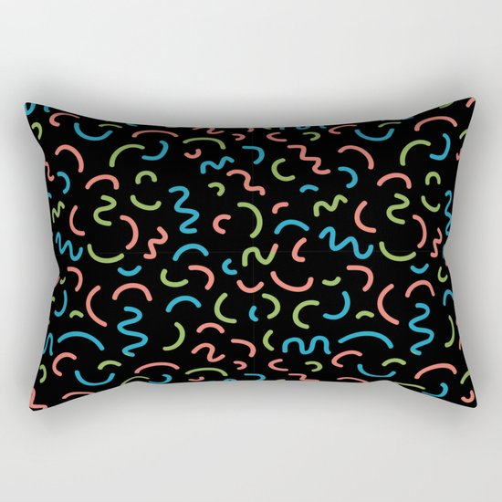 memphis squiggles modern minimal abstract pattern trendy gifts Rectangular Pillow