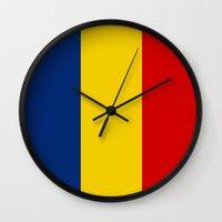 chad wys Wall Clocks featuring chad country flag by tony tudor
