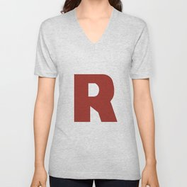 Letter R on White Unisex V-Neck