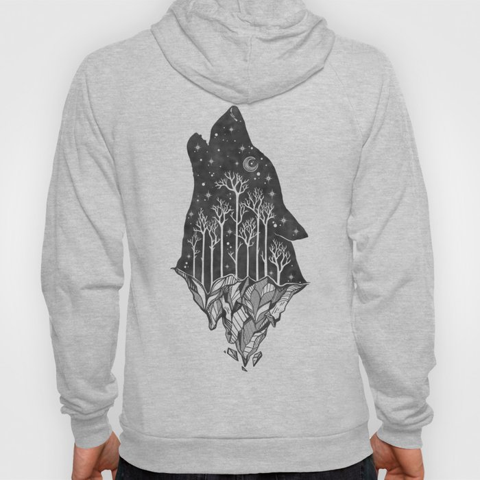 Adventure Wolf - Nature Mountains Wolves Howling Design Black on Pale Pink Hoody