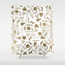 Retro abstract geometrical faux gold white 80'spattern Shower Curtain