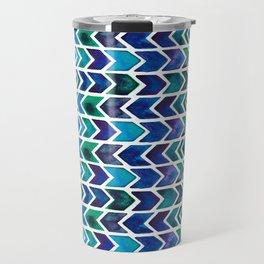 Turquoise and Green Aztec Pattern. Travel Mug